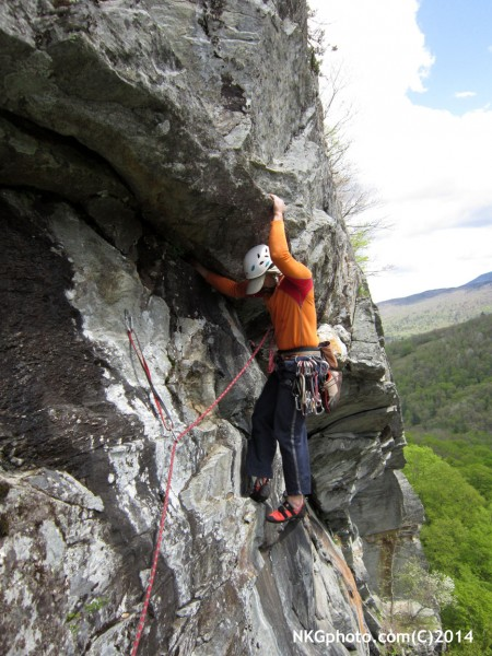 Eric marshal on the 3rd ascent of Dirty Deeds 10a