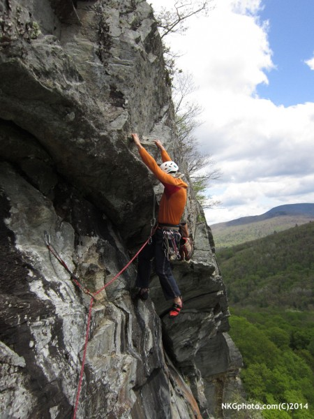 Eric Marshal on 3rd ascent of Dirty Deeds 10a