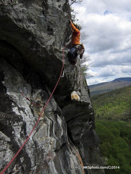 Eric on 3rd ascent of Dirty Deeds 10a