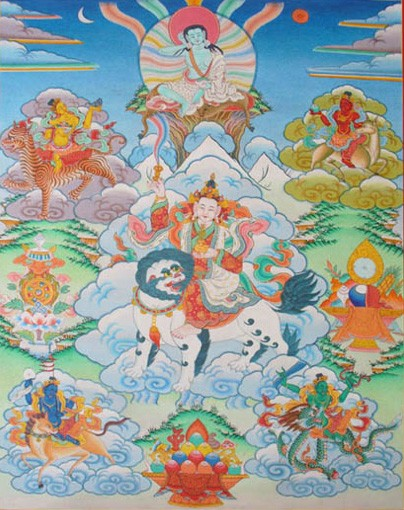 Milarepa and the Five Tseringma goddesses.