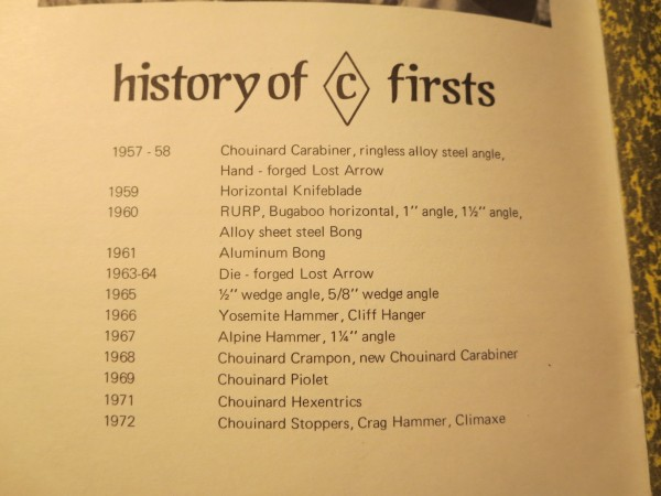 Chouinard Firsts page, 72' catalog