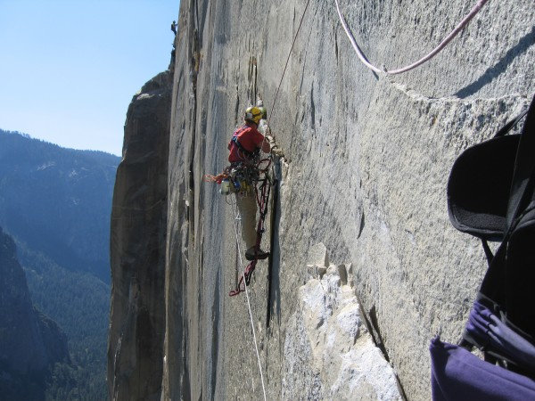 Rich about 1/4 of the way into his crux pitch lead on Atlantis, Septem...