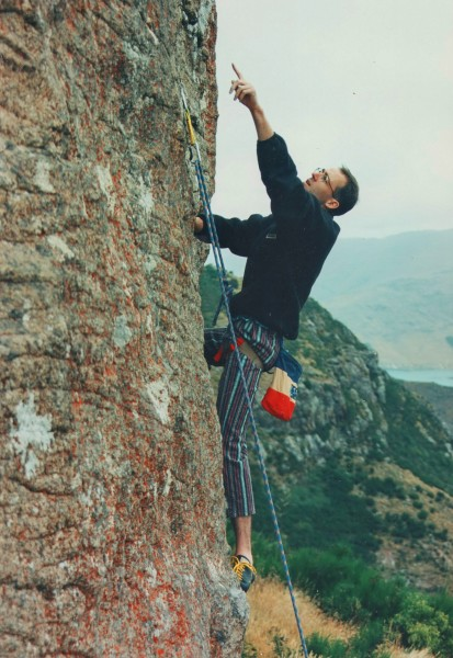 """Pumping Velvet"" 23 or 5.11c, Lyttleton Rock, CHCH. Early 90's."