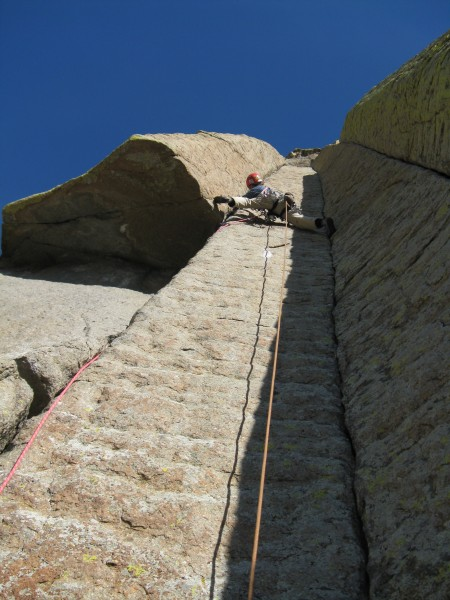 My bro on the free variation of McCarthy West Face. The original route...