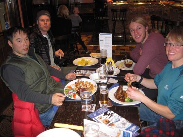 Masa Sakano, Steve Towne, Rob Goodman and Susan in the pub in the Glen...
