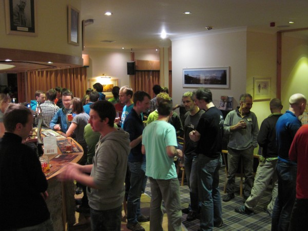 Socializing in the bar at the Glenmore Lodge with some of the hosts an...