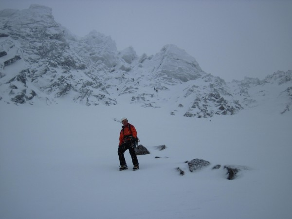 Alan posing below our route (1/28/14). We were back to Coire A...