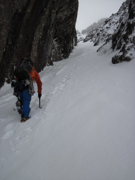 Gwilym heading up Fuselage Gully to access our route (1/29/14)...
