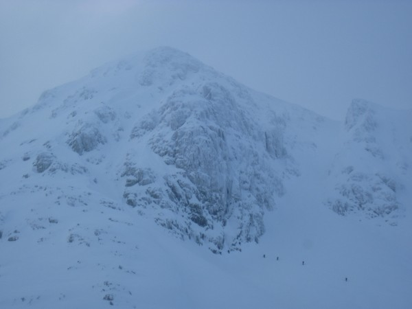A line of climbers heading for our route - Scabbard Chimney on Stob Co...