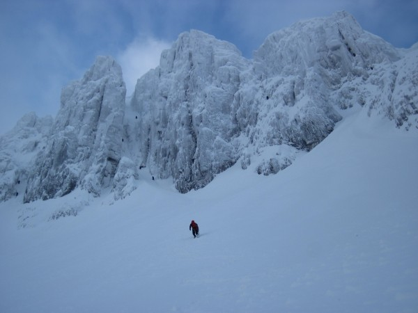 New plan. Crag Jones, my host, heading for Raeburn's Route on Stob Coi...