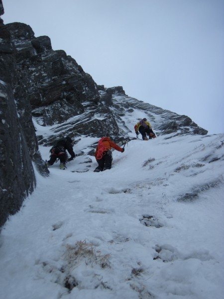 Steve, Sandy, and Andy climbing to our 1st belay stance (2/4/14&#4...