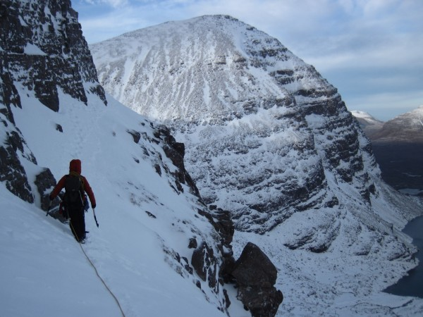 The traverse to the start of the East Buttress (2/8/14).