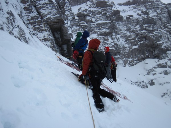 "Arrived to find a crowd already lined-up to climb ""our"" route (2/8..."