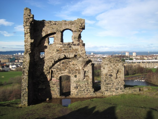 The remains of St. Anthony's Chapel on the flank of the Salisbury Crai...