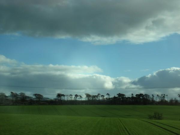 Borderlands from the tour bus en roiute to the Glenkinchie Distillery ...
