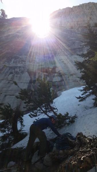 Crossing snow field below Pitch 1 of 'Hugos drive by shooting' 1_098