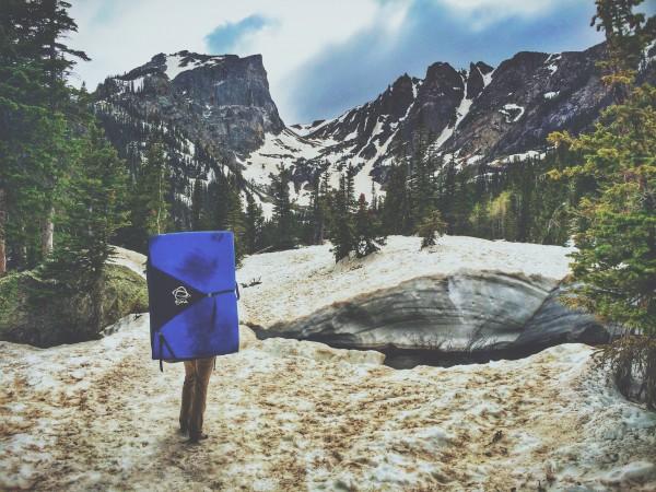 Julie Hart hiking into Emerald Lake, RMNP, CO.