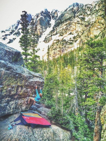 Julie Hart warming up on a V1 at Emerald Lake, RMNP, CO.