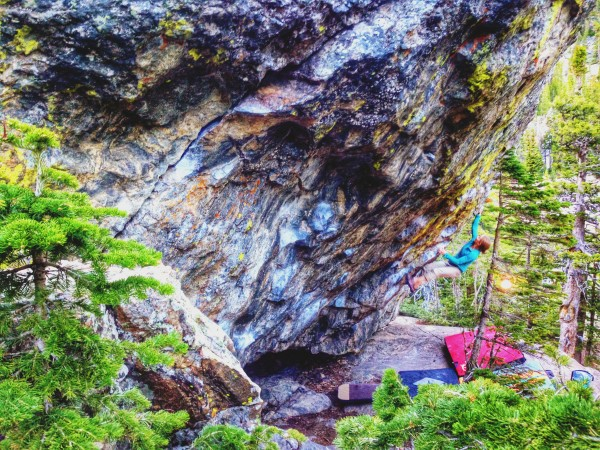 Julie Hart sending The Kind (V5) at Emerald Lake, RMNP, CO.
