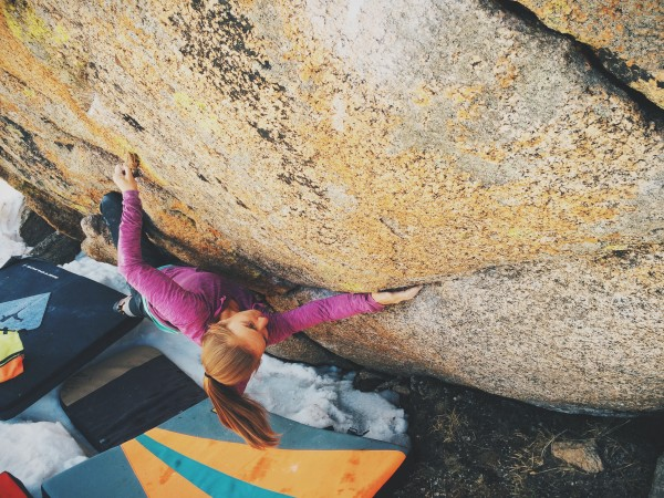 Julie Hart working out the moves on Chalk on Rock (V8), Mt. Ev...