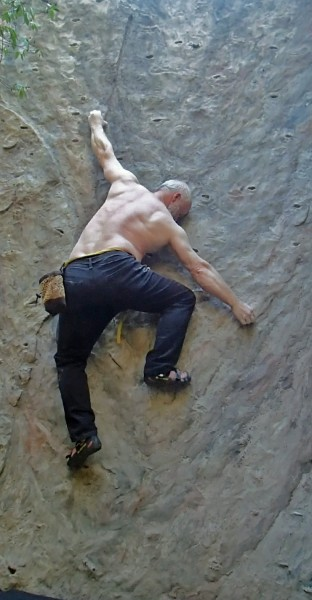 An afternoon on my homemade boulder wall - making up contrived hard st...