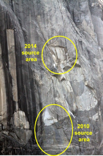 Location of the 11 June 2014 rockfall on the southeast face of El Capi...