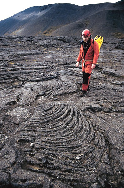 Pahoehoe lava on the surface of a cave