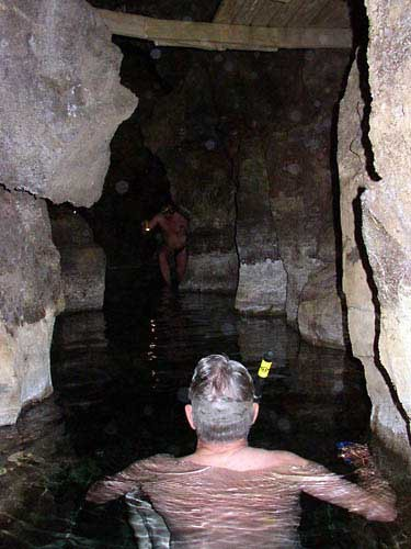 Swimming in a 104-degree spring inside of a cave in Iceland, up in the...