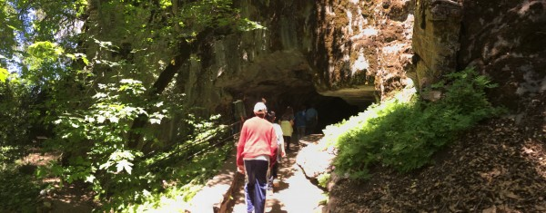 Our tour group heading into Crystal Cave