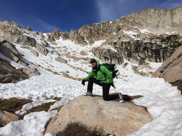Proper footwear for a high sierra snow approach.