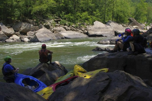 Boating down the New River Gorge (class IV whitewater)