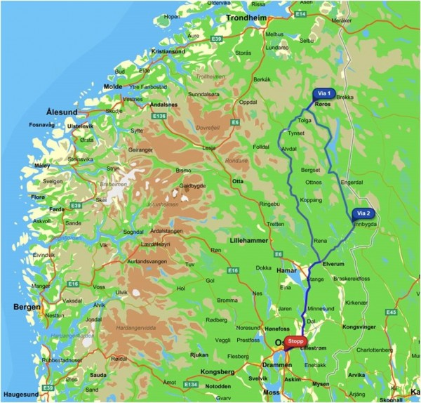 Map of most of the southern part of Norway