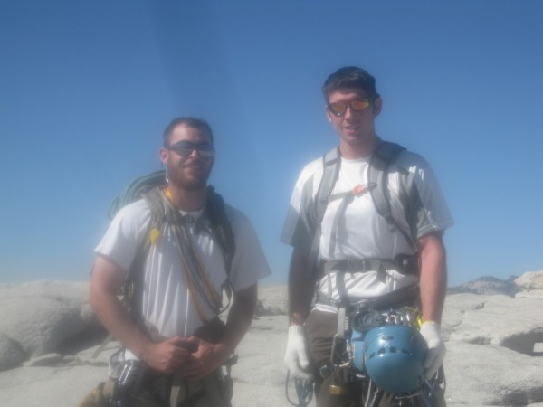 Team Noobsauce (Shane and I) on top of Half Dome after climbin...