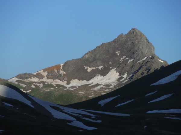 Wetterhorn Peak, one of the 14ers in the SanJuans. Route follows left ...