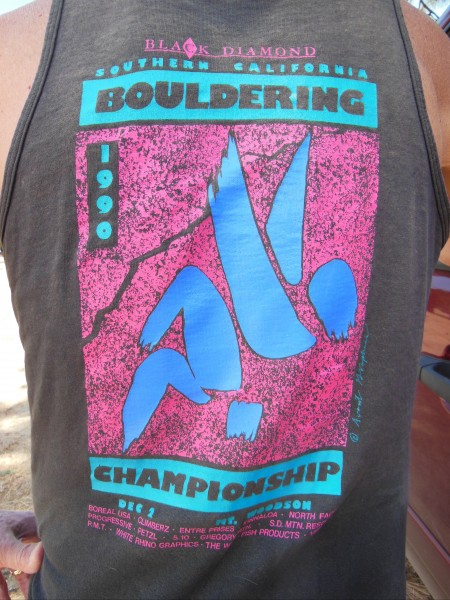 Relic shirt from 1990 Bouldering Contest, Mt. Woodson.