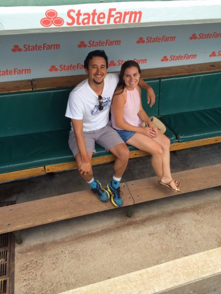 Hangin' in the CUBS dugout ...