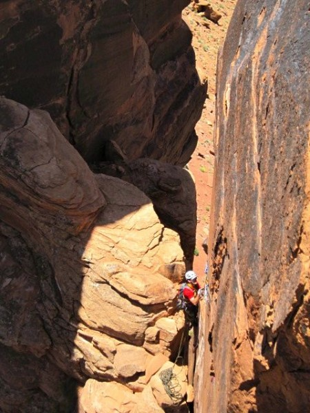 Jugging out of the notch on the second pitch.