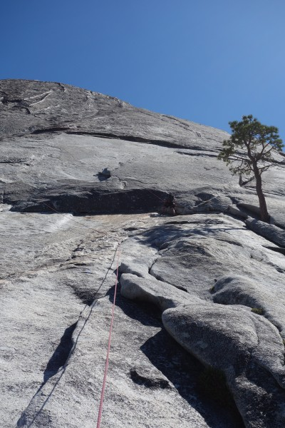 Climbing back down to remove anchors causing rope drag on Pitch 1