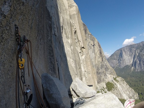 The ledge, you can see the off-width just on the edge of the shadow.  ...