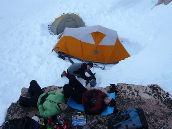 Basecamp for Matterhorn Peak in winter.