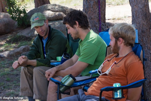 Will, Max and Tom discussing the nuances of Vedauwoo Friction climbing