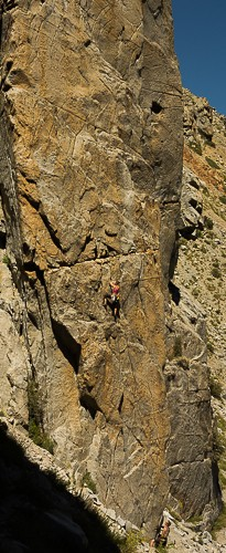 paula and ross on the golden alpine buttress