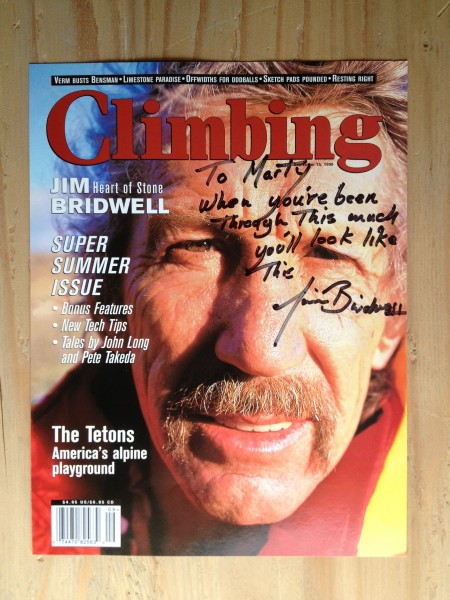 Climbing Magazine cover, Jim Bridwell <br/>