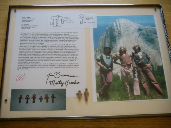 Framed documents for the Yosemite Museum, Bridwell shirt, Jim Bridwell