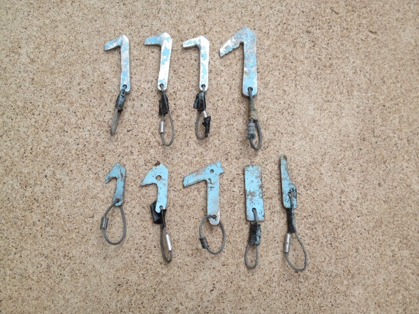 Bridwell aluminum hooks and saw blade hooks c.1996, Jim Bridwell