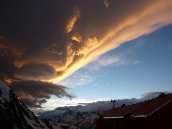 Spectacular sunset from Tasman Saddle Hut, Jan 2013.