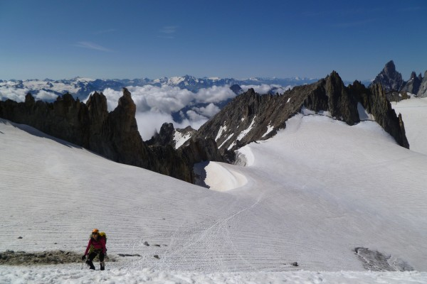 Irina coming up the monster hill to the base of the Dent du Géant's ta...