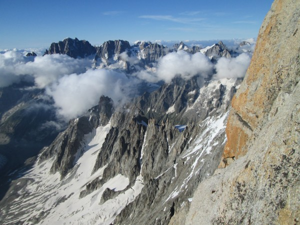 A view from the last belay before the final pitch.