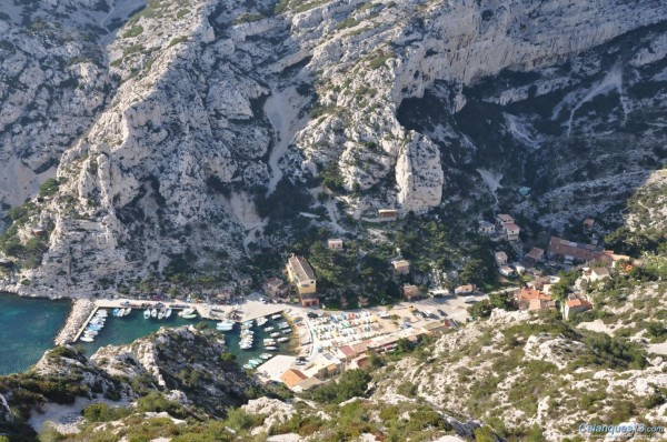 Morgiou. The cliff in the upper right corner of the photo is Les  Caba...
