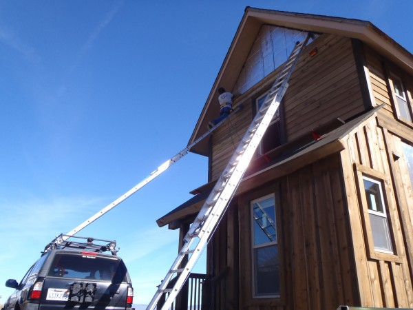 ladder on the right is 40 foot extension, ladder on roof rack is 24 fo...